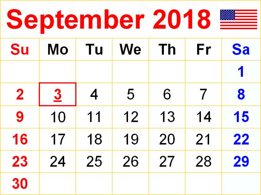 September 2018 Calendar SA
