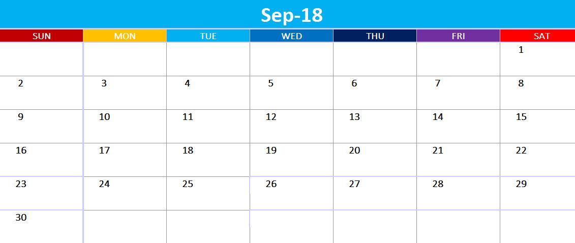 September 2018 Calendar Singapore Printable