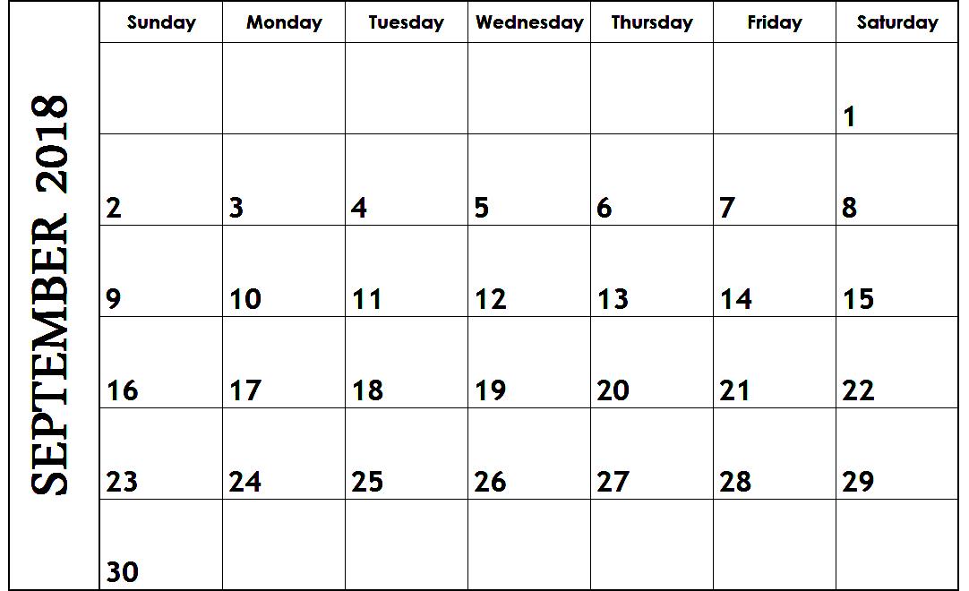 September 2018 Calendar Singapore Template