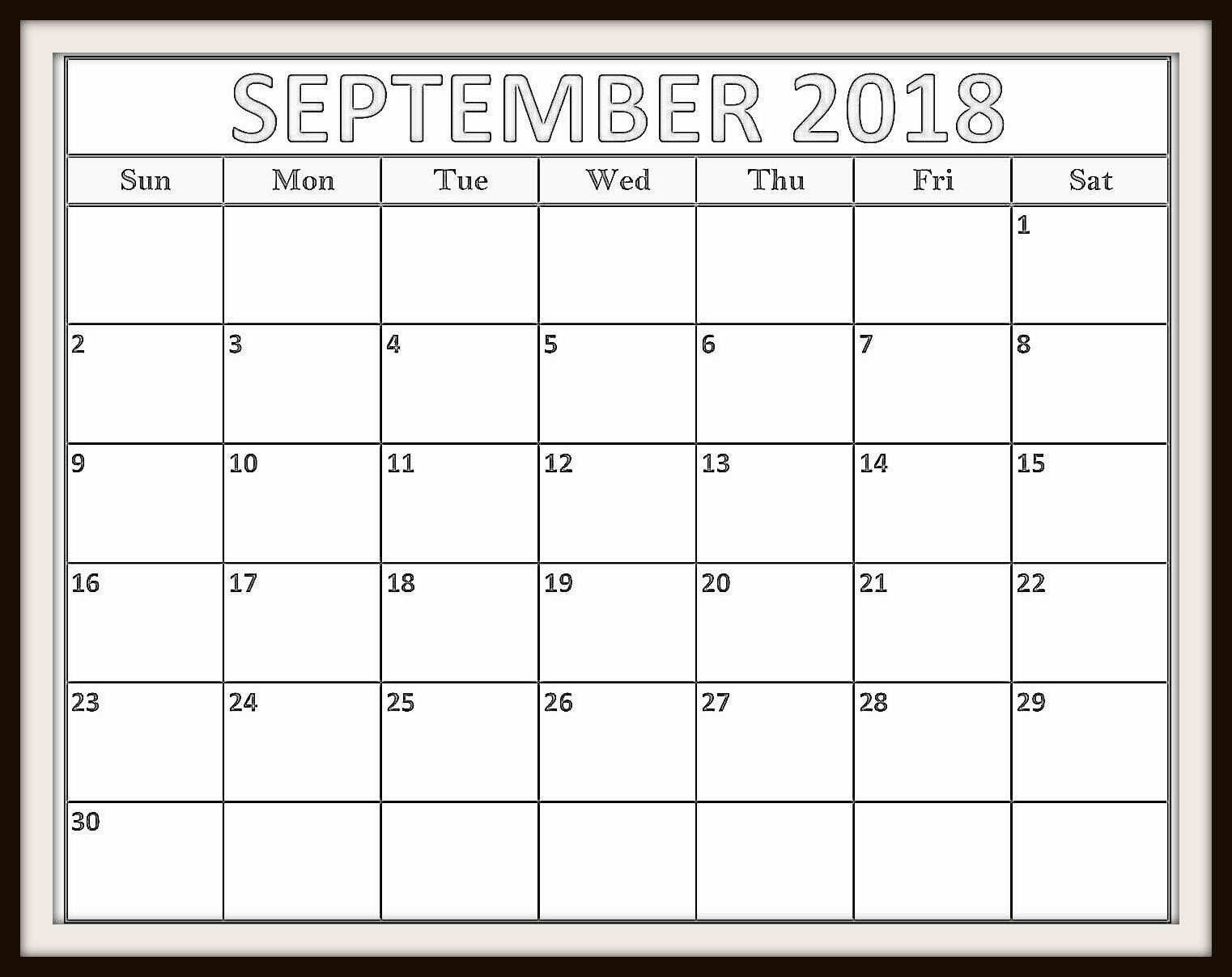 September 2018 Calendar Singapore