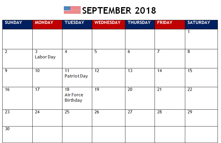 September 2018 Calendar South Africa Template