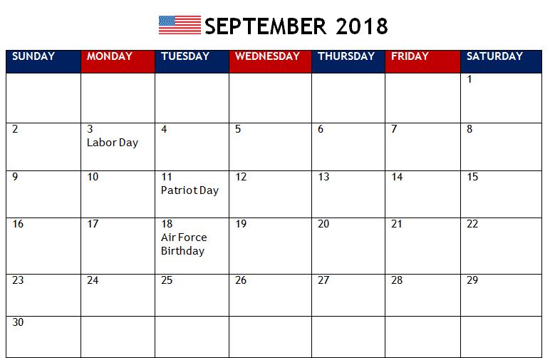 September 2018 Calendar South Africa Template