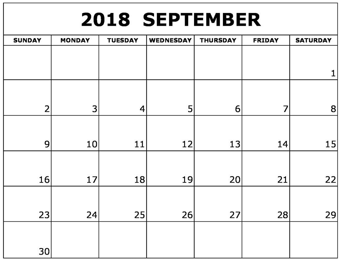 September 2018 Calendar Spanish Free