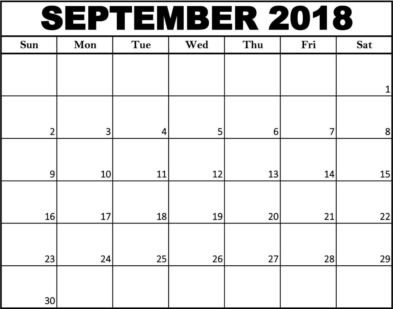 September 2018 Calendar Spanish Printable