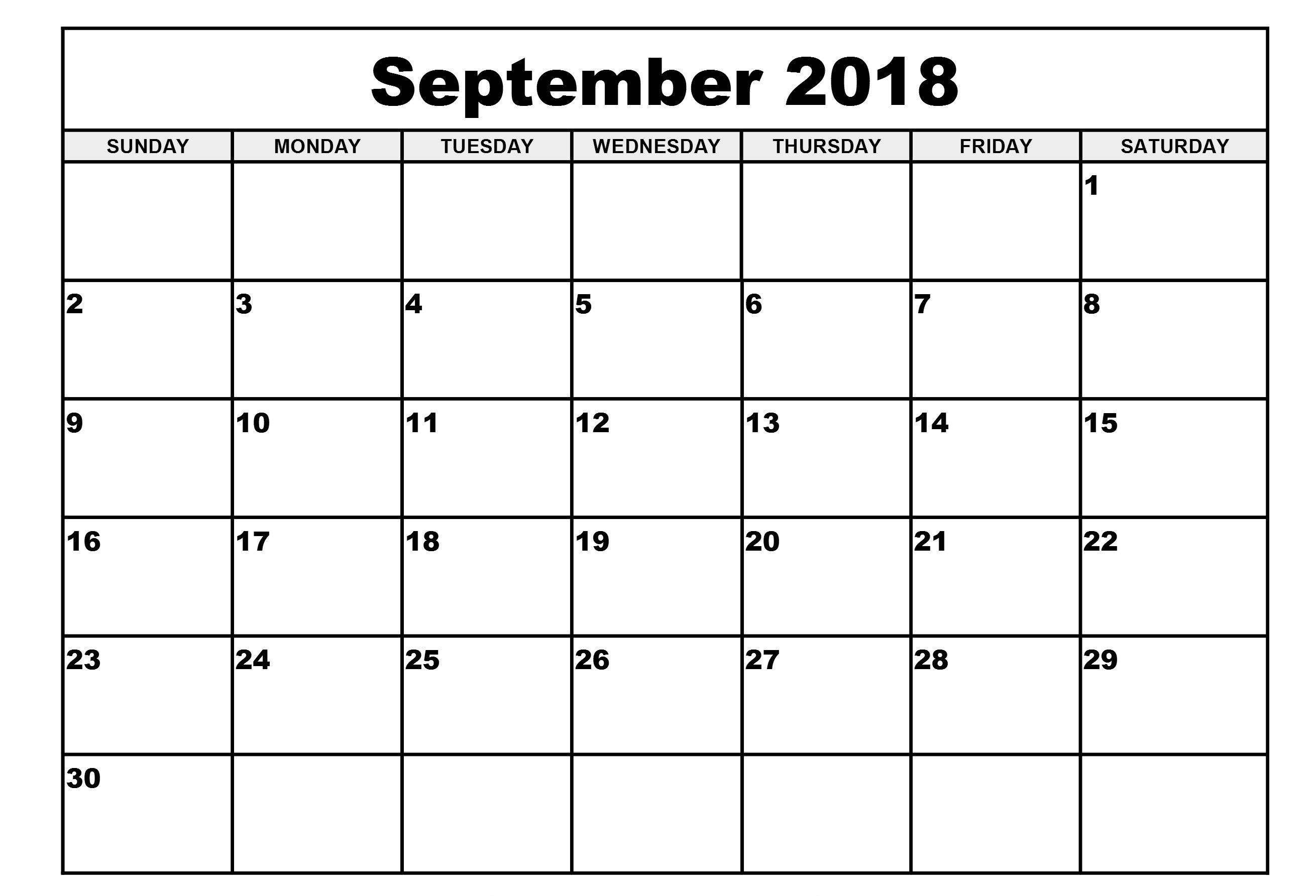 September 2018 Calendar Spanish Word Excel PDF
