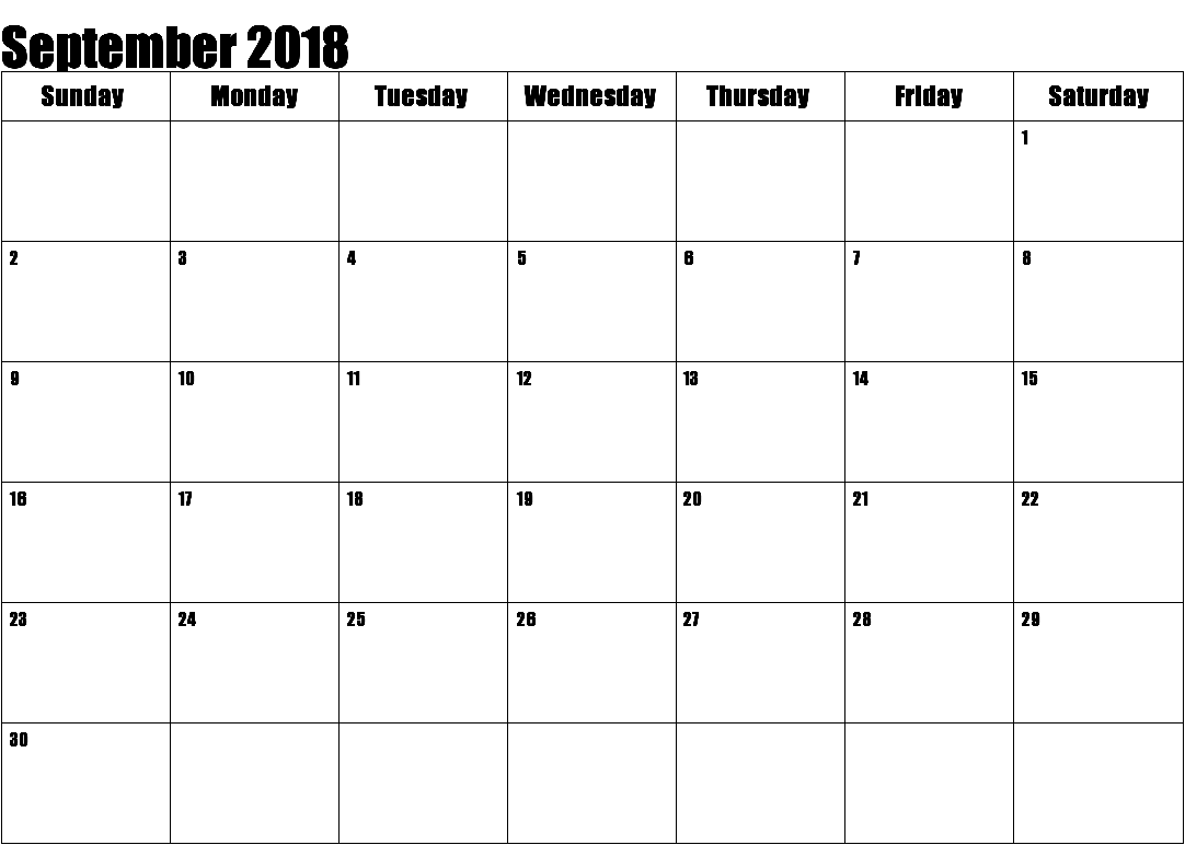 September 2018 Calendar Template with Holidays