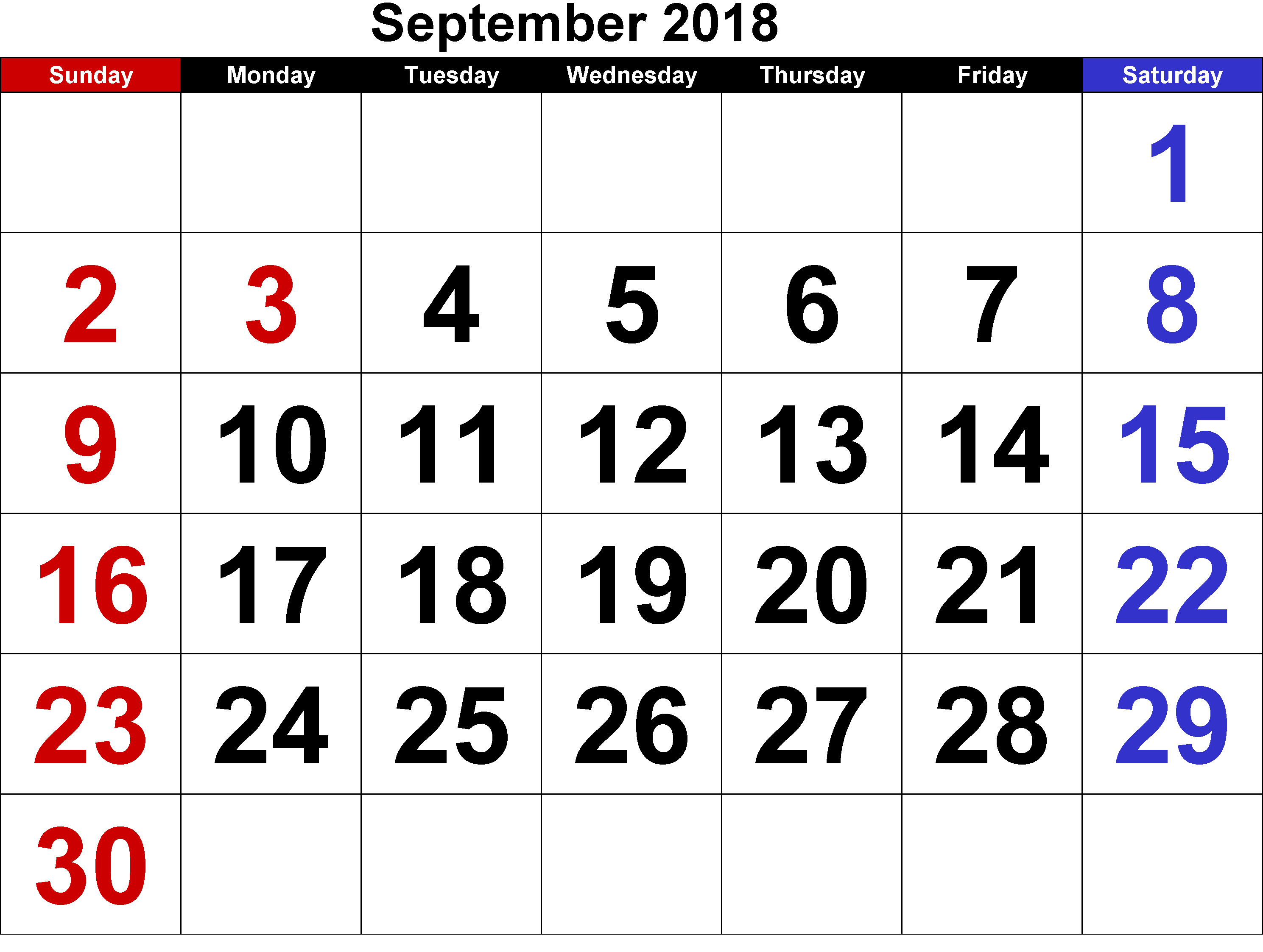 September 2018 Calendar UK Printable