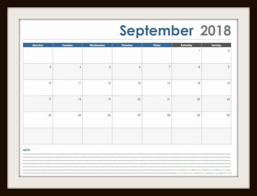 September 2018 Calendar UK Template