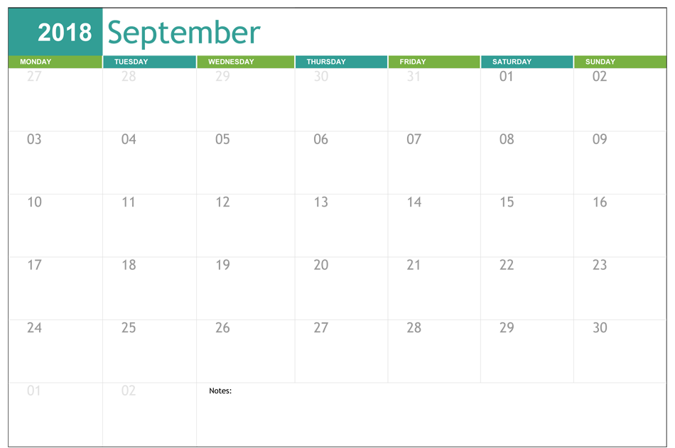 September 2018 Calendar USA Template