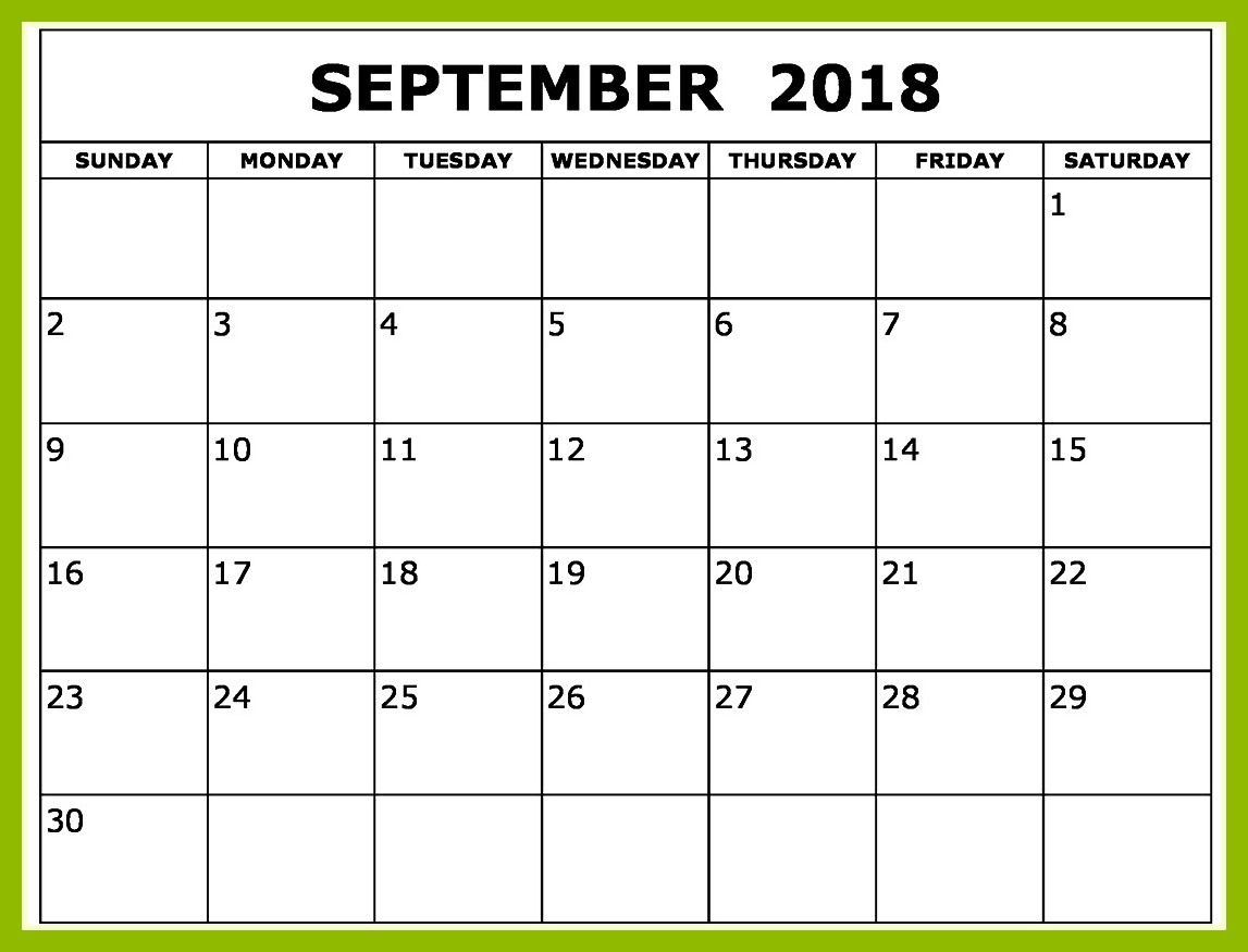 September 2018 Calendar USA with Holidays