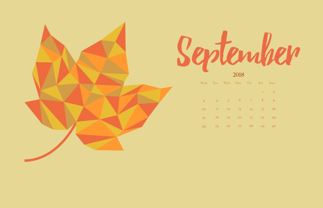 September 2018 Calendar Wallpapers For Background