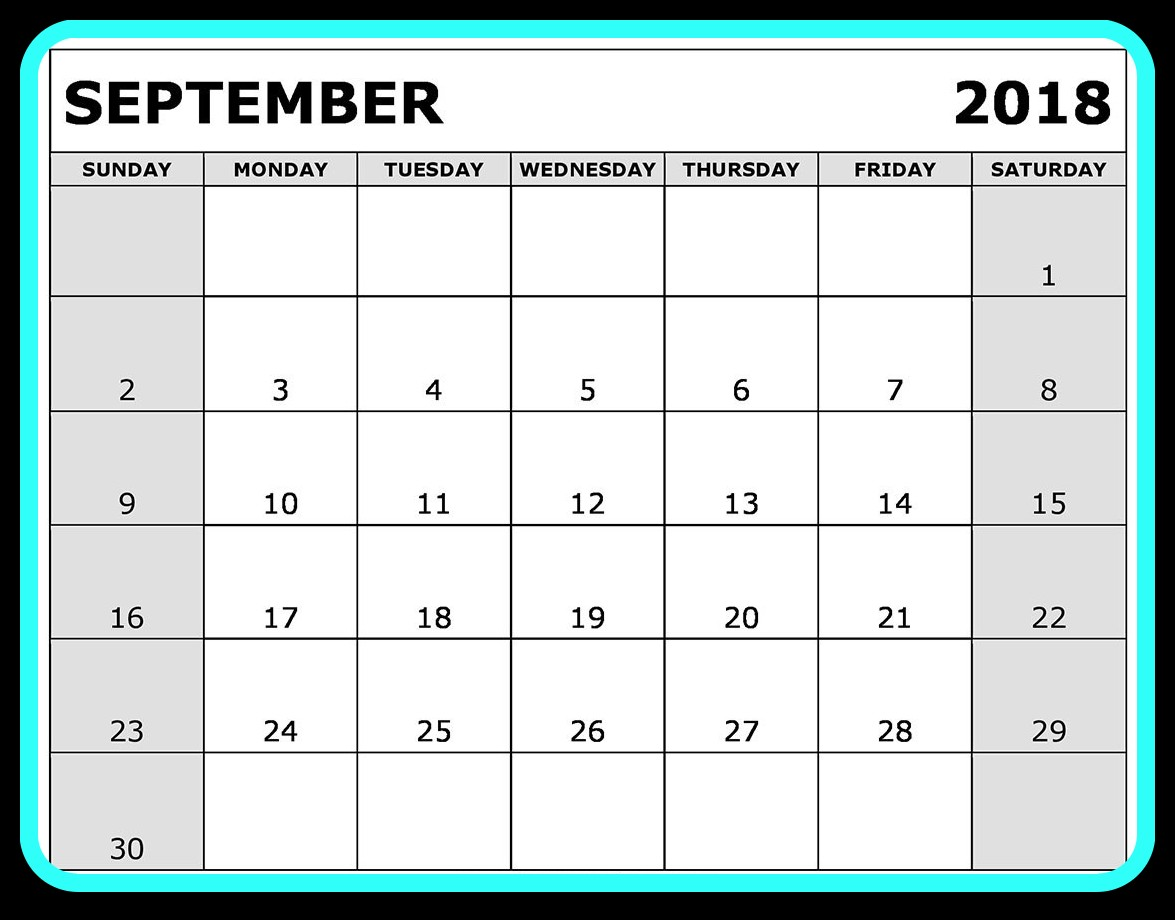 September 2018 Calendar Word Printable
