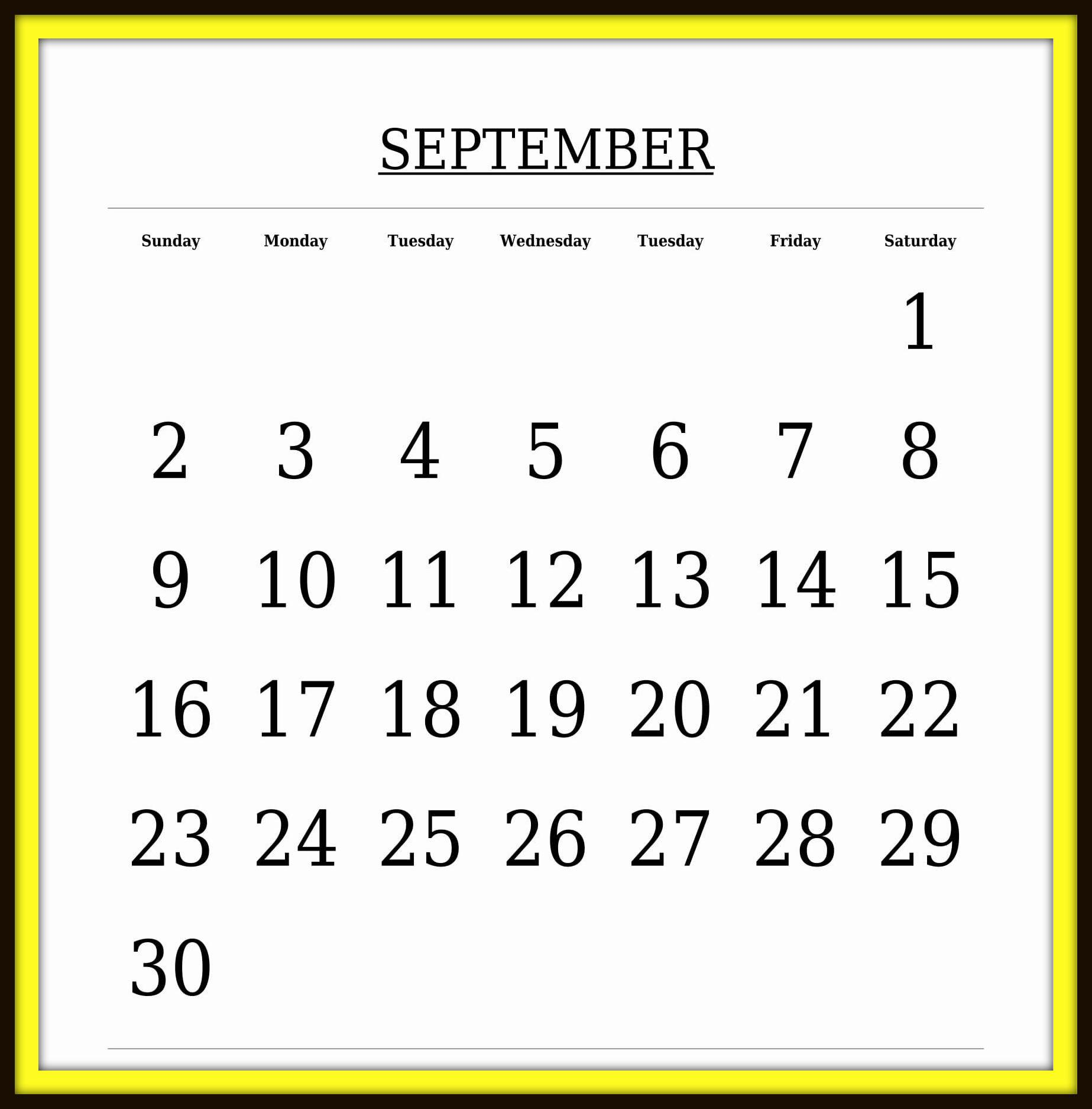 September 2018 Calendar Word Template