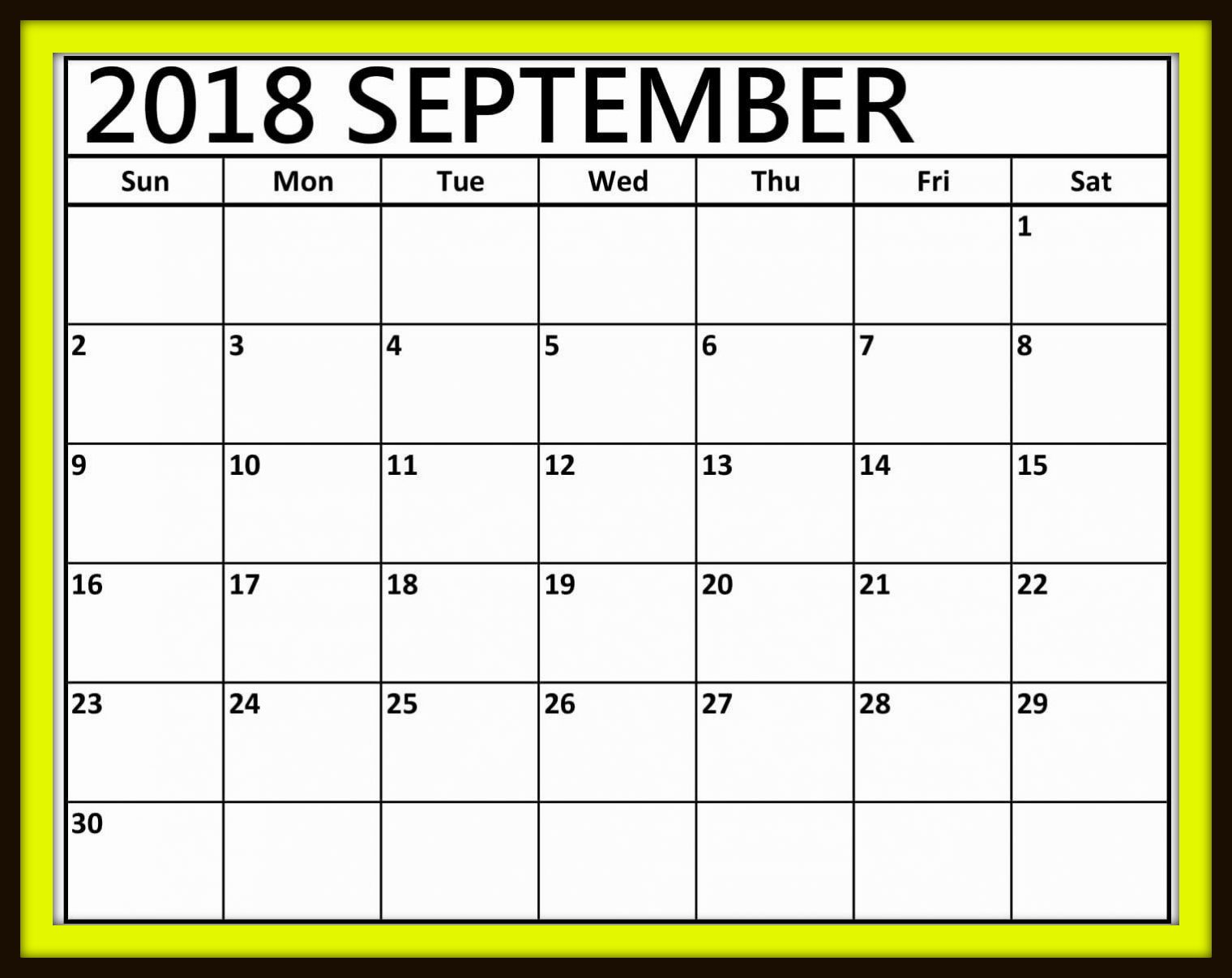 September 2018 Calendar Word printable Template