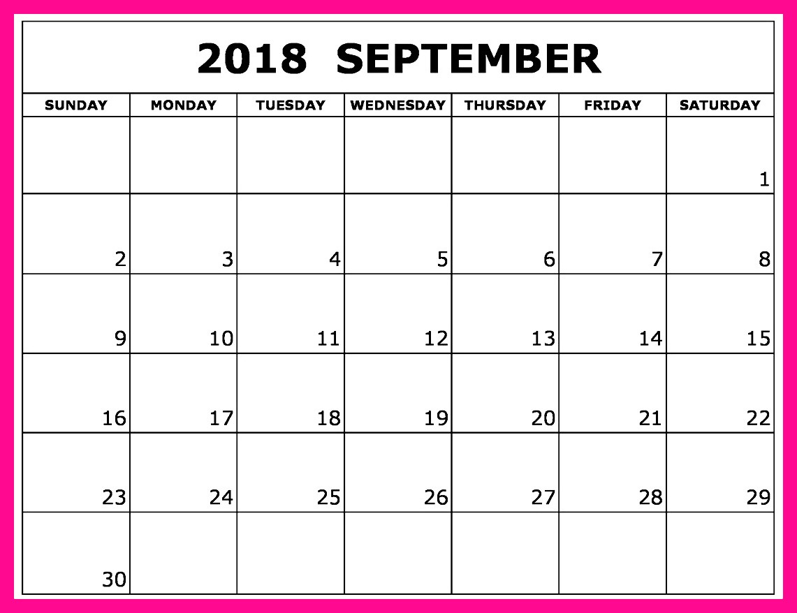 September 2018 Calendar Word with Holidays