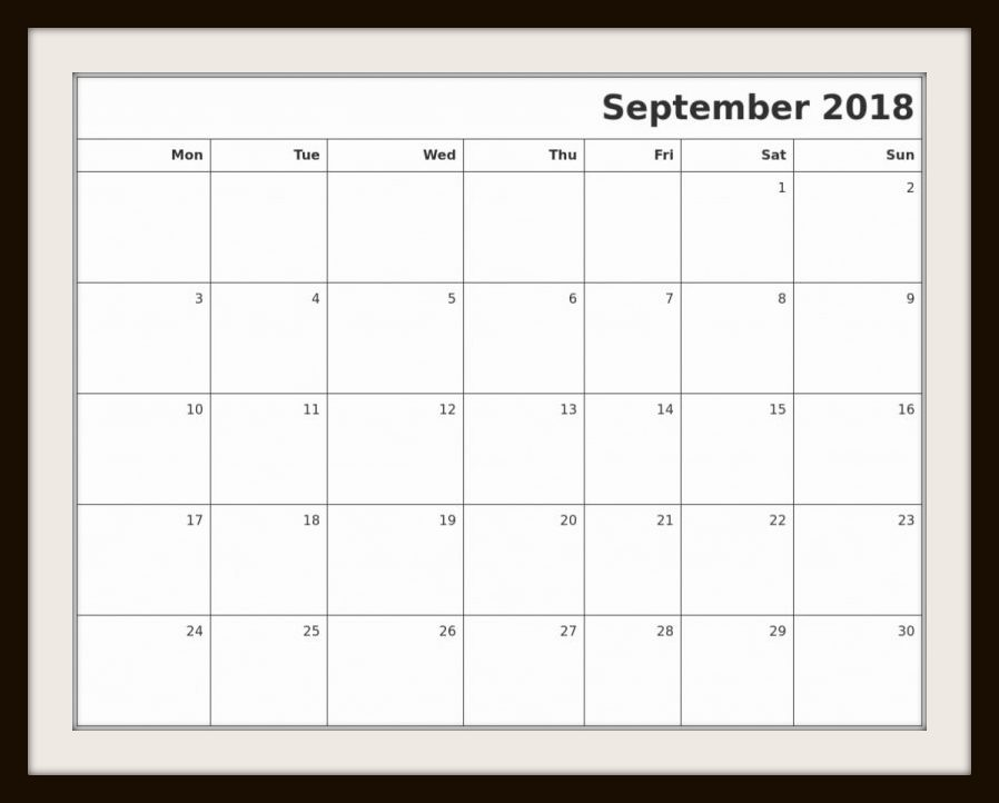September 2018 Calendar to Print Holidays