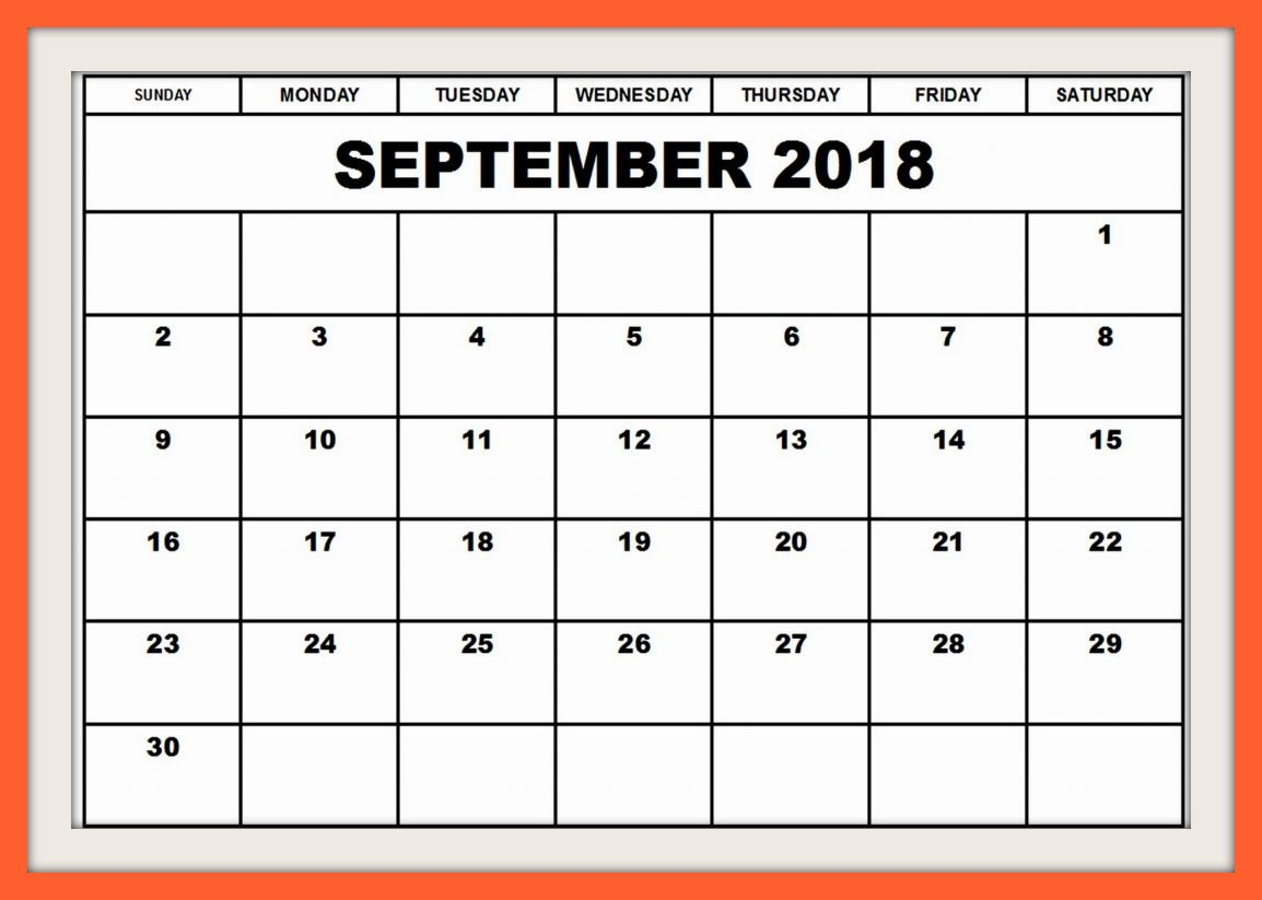 September 2018 Calendar to Print Template