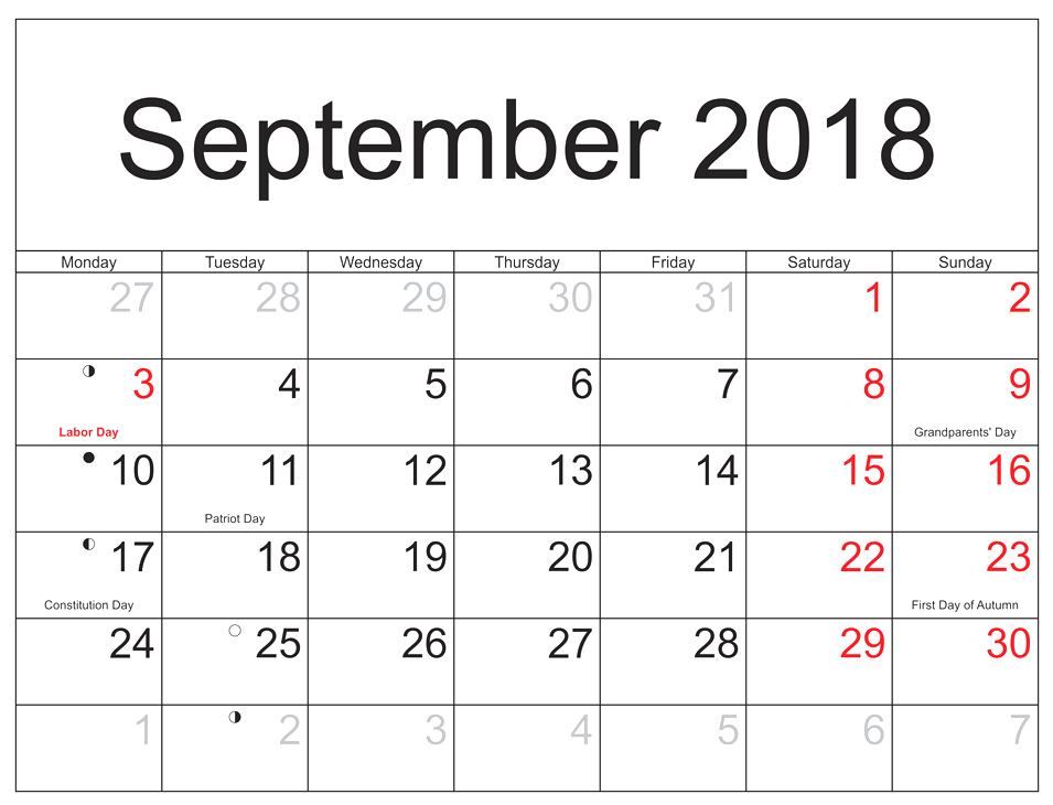 September 2018 Calendar with Holidays Free