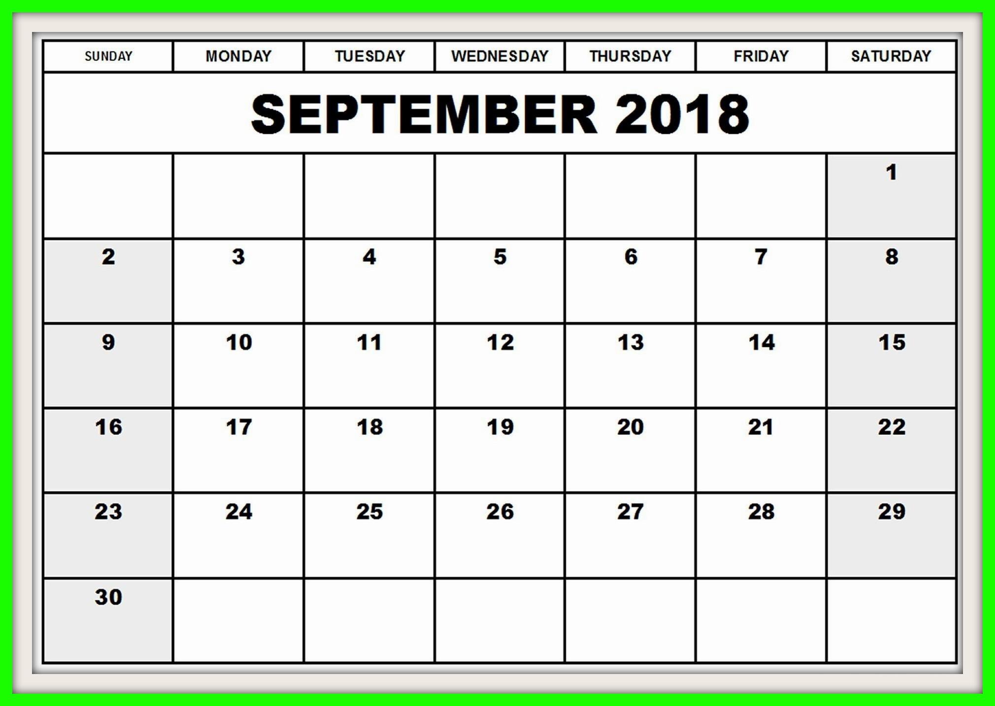 September 2018 Calendar with Holidays Printable