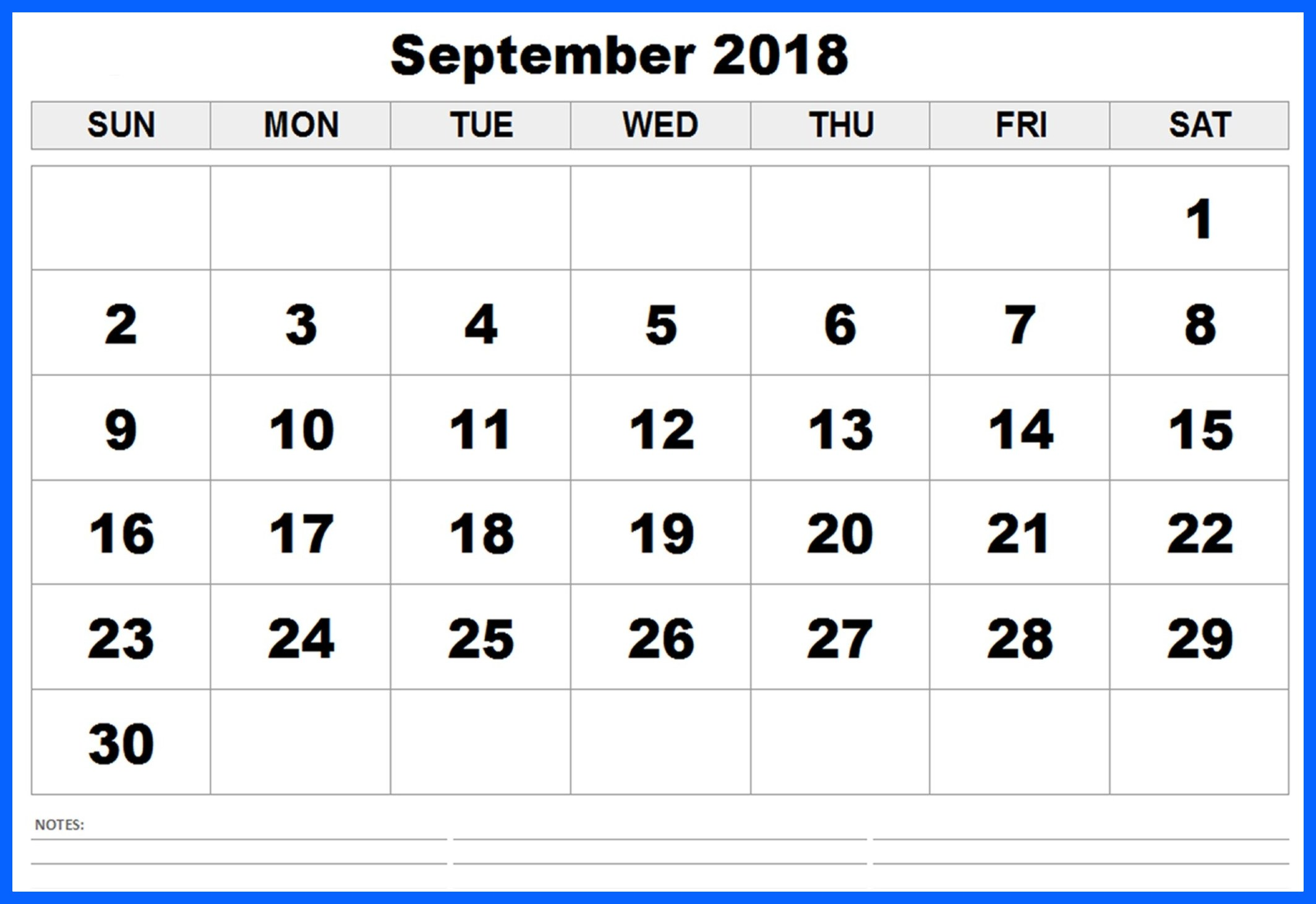 September 2018 Calendar with Holidays Template