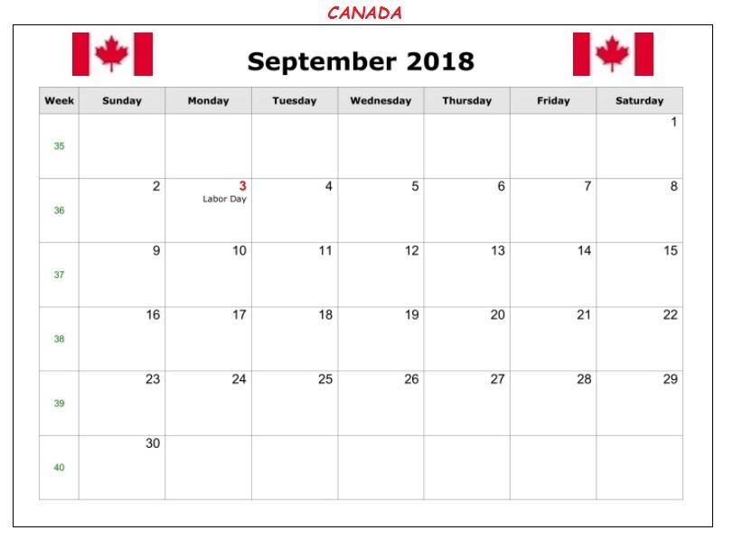 September 2018 Canada Holidays Calendar