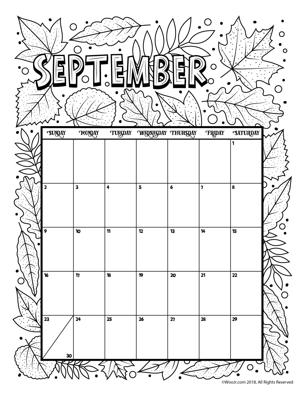 September 2018 Coloring Printable Calendar Page
