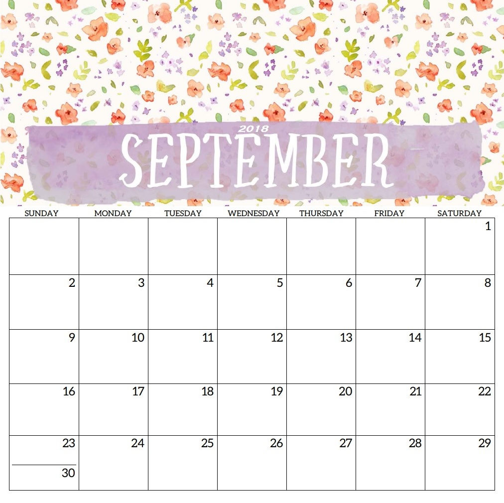September 2018 Desk Calendar Designs