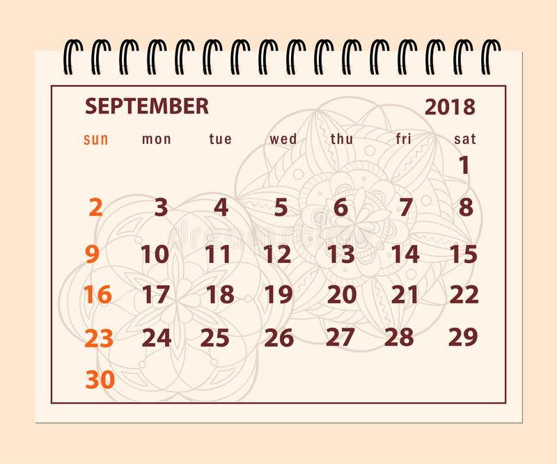 September 2018 Desk Calendar Pink