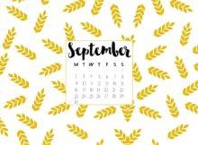 September 2018 Desktop Calendar Wallpaper