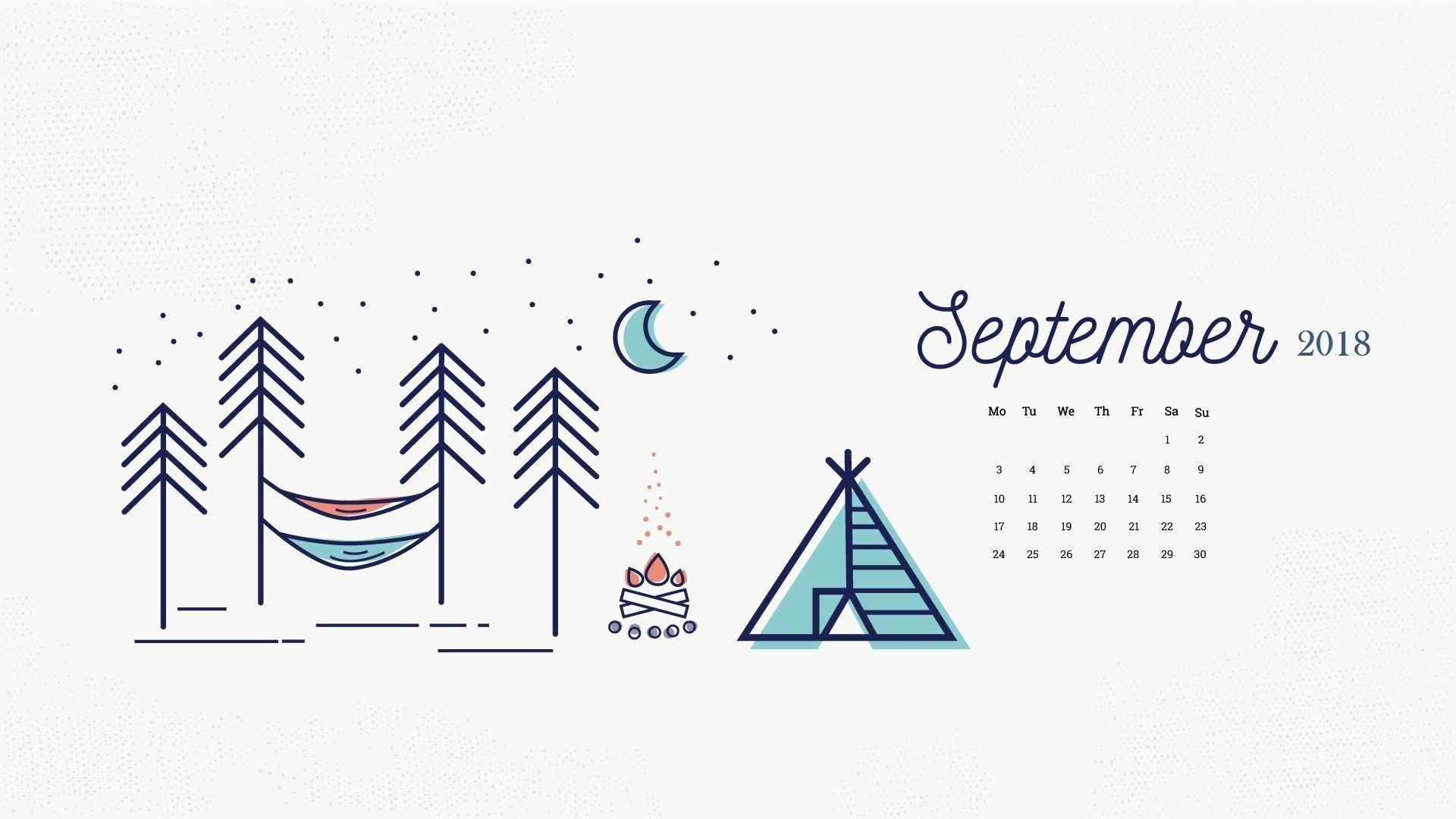 September 2018 Desktop Calendar Wallpapers