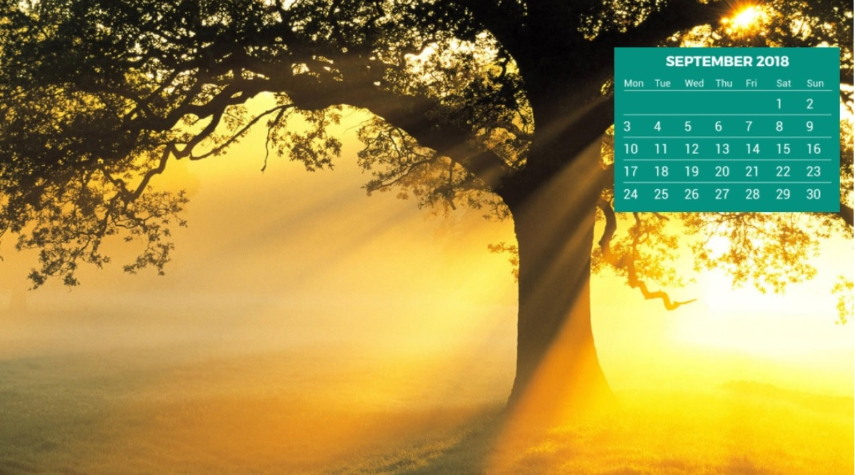 September 2018 Desktop HD Calendar