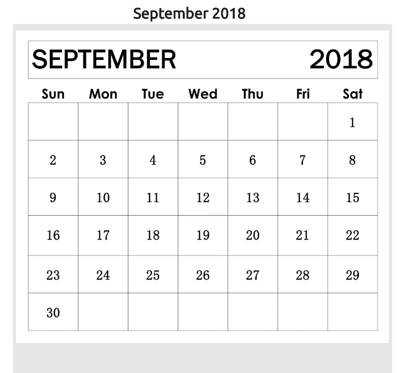 September 2018 Editable Calendar Planner