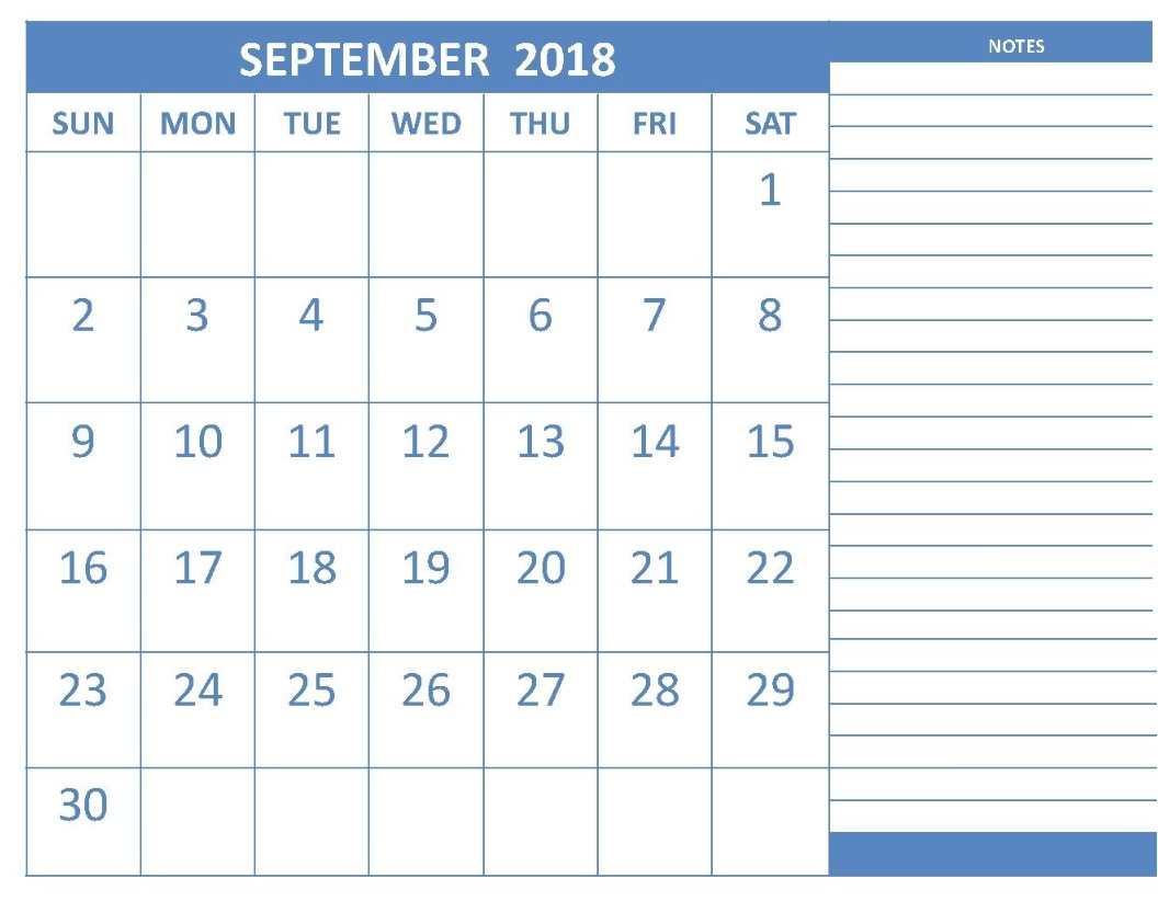 September 2018 Editable Calendar with Adding Note
