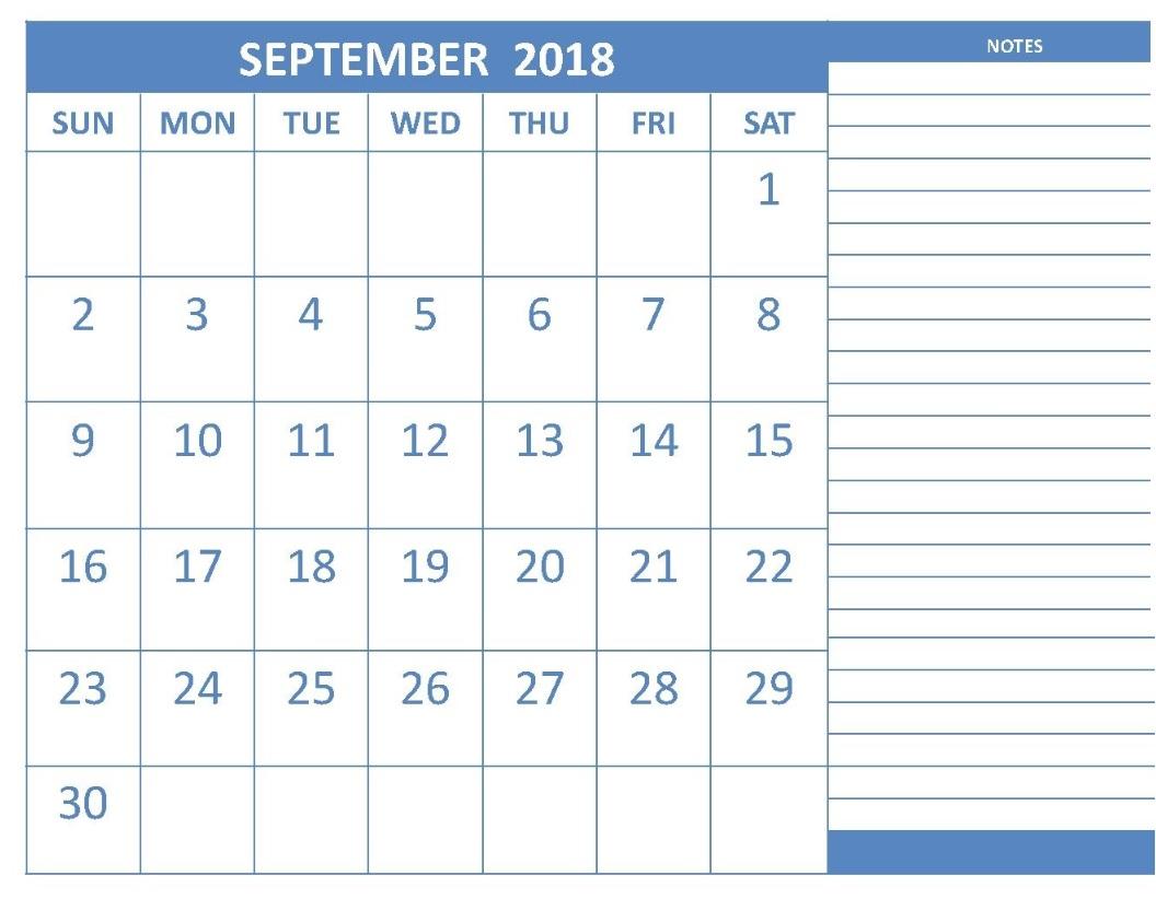 September 2018 Editable Calendar with Adding Note