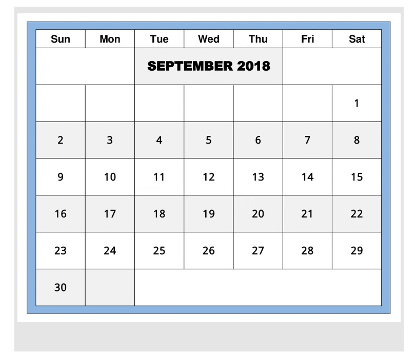 September 2018 Editable Monthly Calendar
