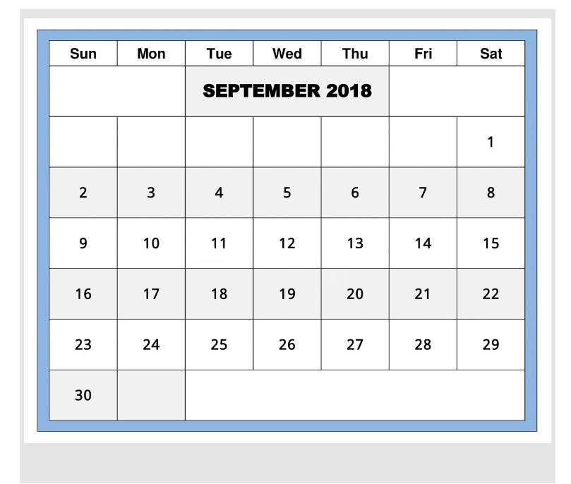 September 2018 Editable Monthly Calendar