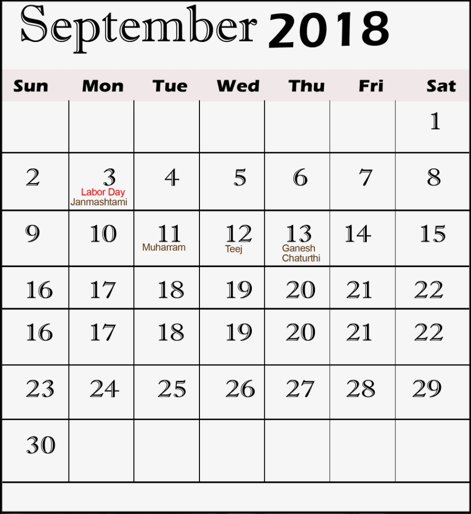 September 2018 Holidays Calendar