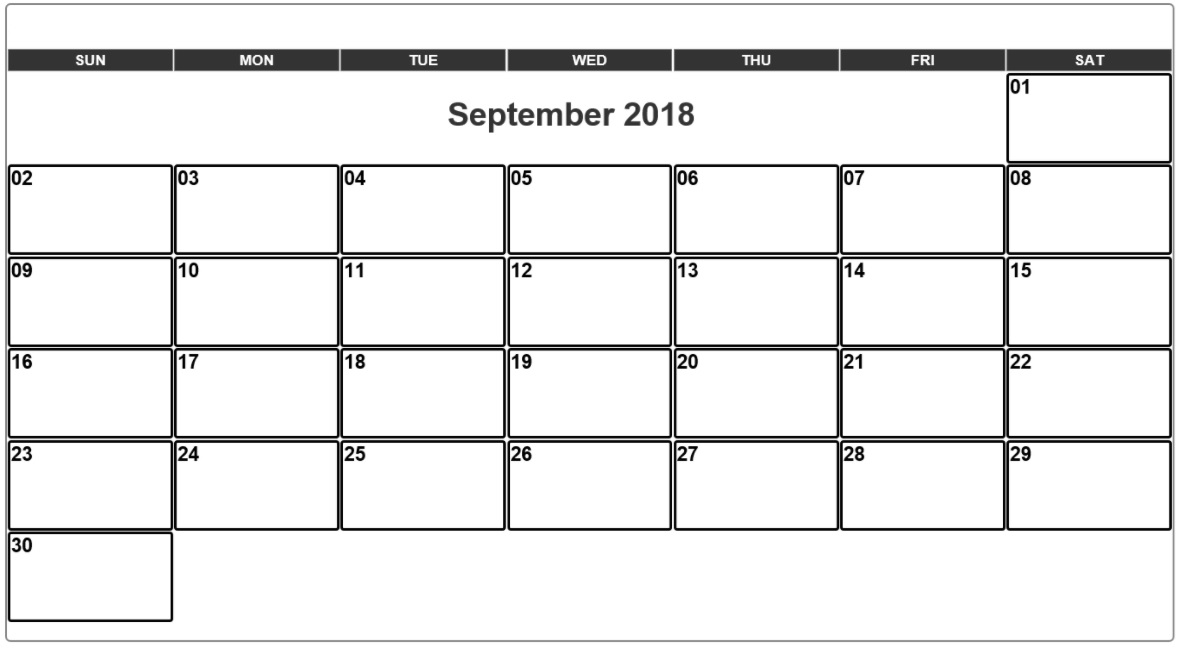 September 2018 Monthly Calendar Printable