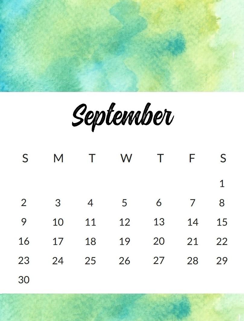 September 2018 Monthly Wall Calendar