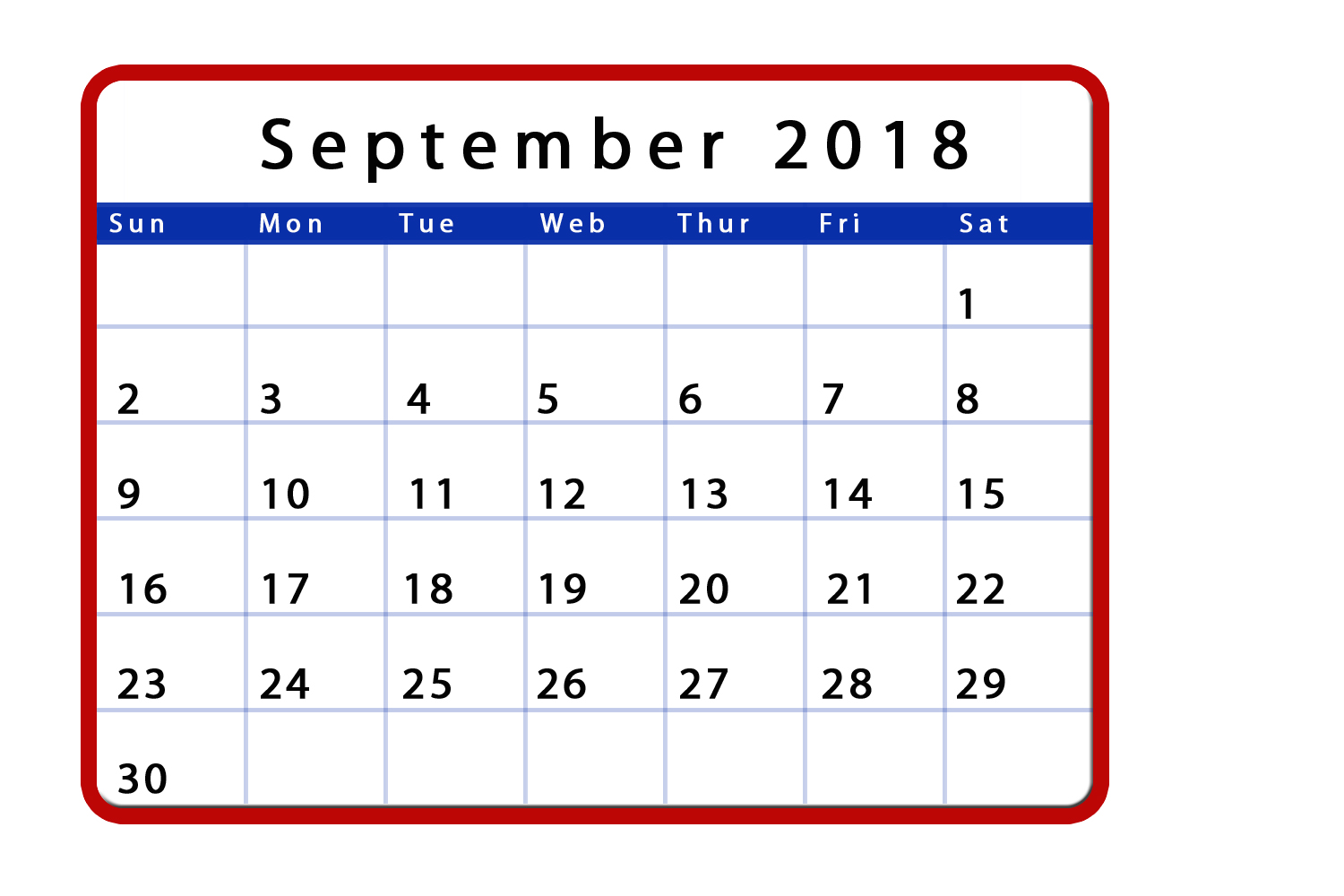 September 2018 Page Calendar to Print