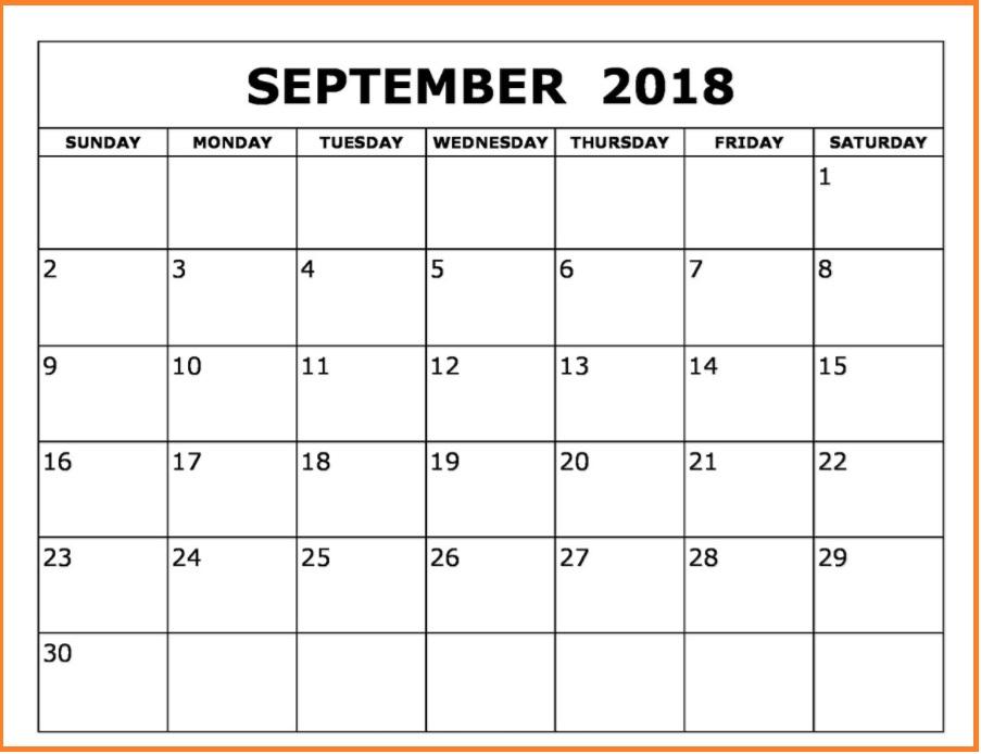 September 2018 Printable Calendar Images