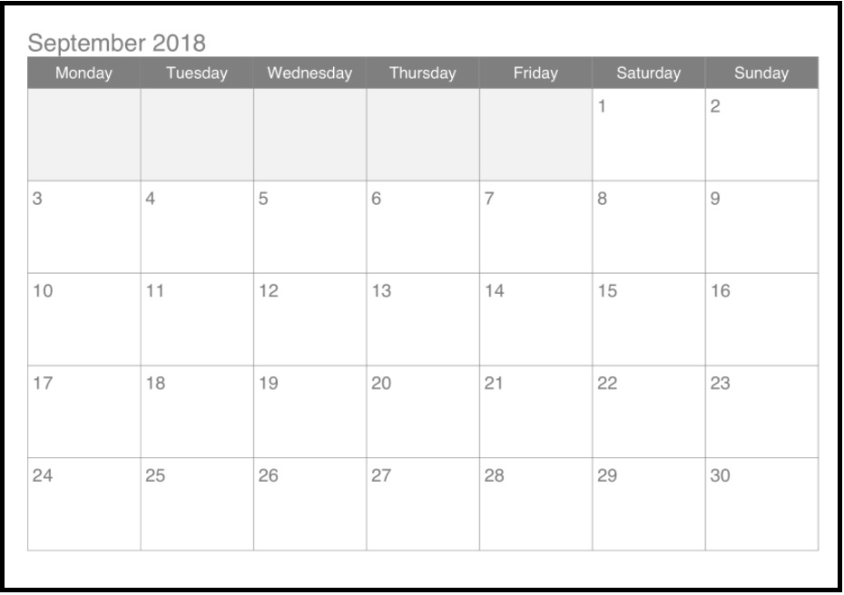 September 2018 Ready To Print Calendar