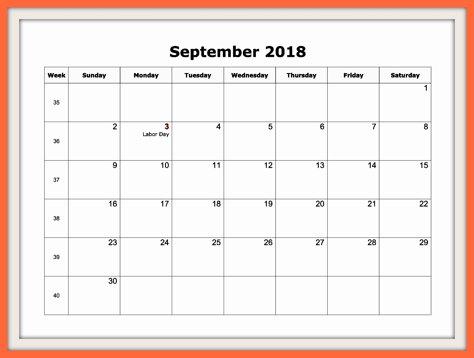September 2018 Telugu Calendar