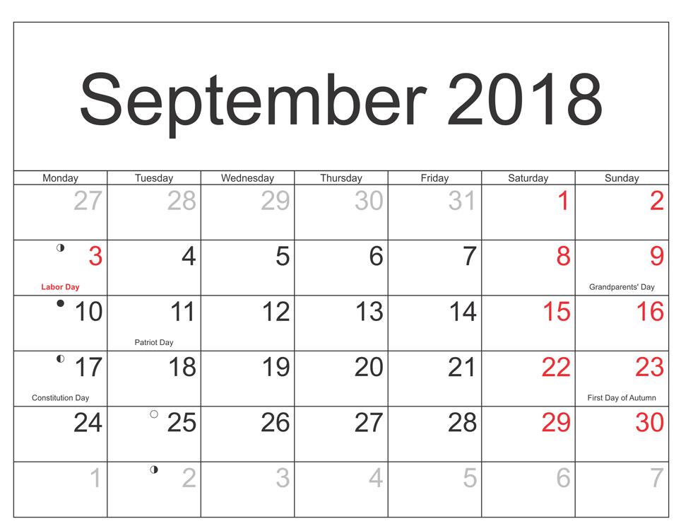 September 2018 UK Calendar