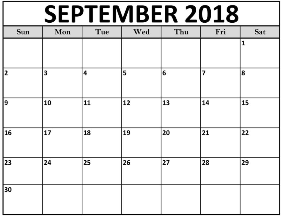 September 2018 USA Blank Calendar