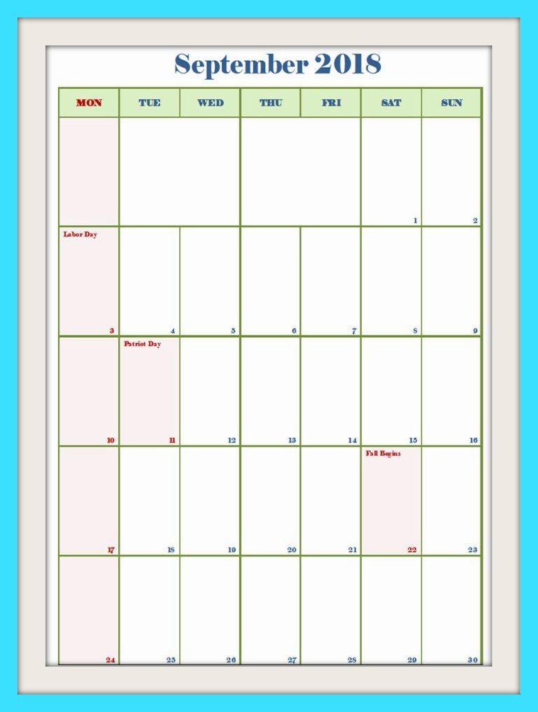 September 2018 USA Calendar