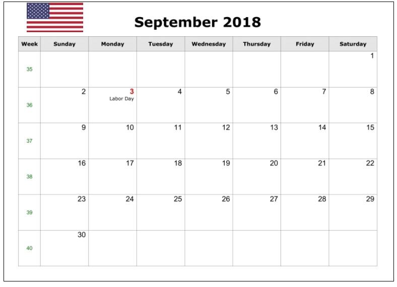 September 2018 USA Holidays Calendar