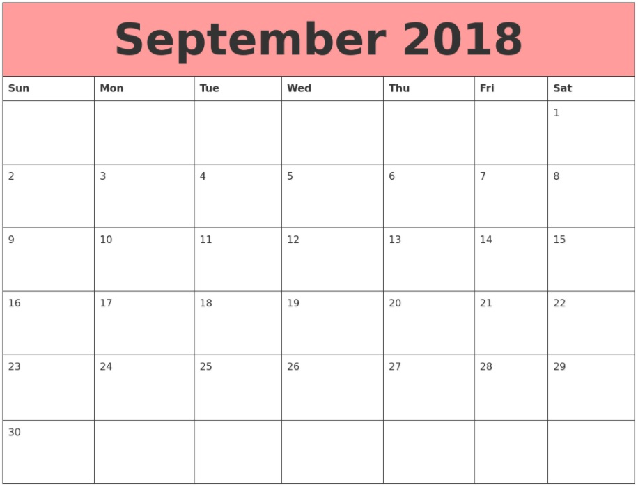September 2018 USA Holidays Calendar
