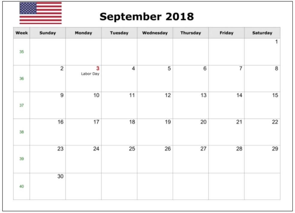 September 2018 USA Holidays Organizer