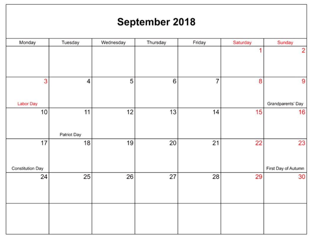 September 2018 USA Holidays Templates